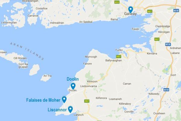 Carte situant les falaises de Moher en Irlande
