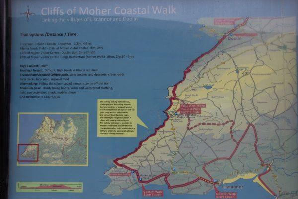 Carte des randonnées possibles aux falaises de Moher