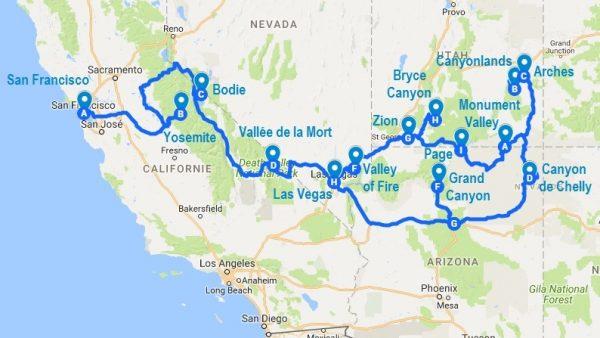Mon itinéraire de roadtrip dans l'ouest américain