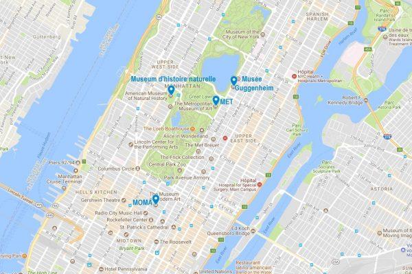 Carte des grands musées de New-York