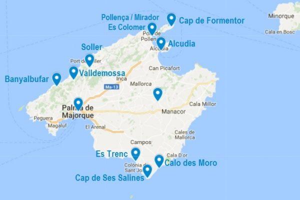 Les points d'intérêt mentionnés dans ce carnet de voyage à Majorque