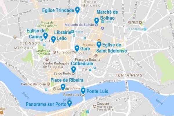 Carte des points d'intérêt à Porto