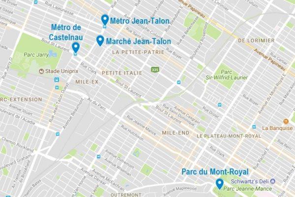 Emplacement du marché Jean-Talon à Montréal