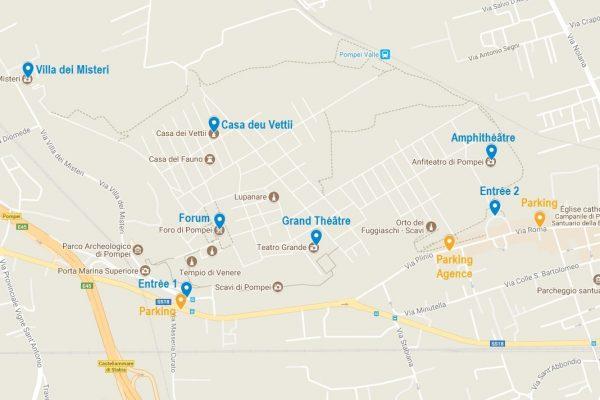 La carte de Pompei avec les points mentionnés dans cet article, et quelques parkings