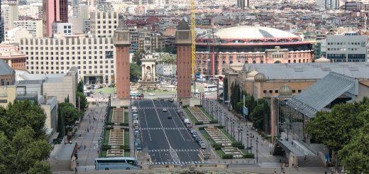 L'avenue Maria Cristina de Barcelone et ses fontaines