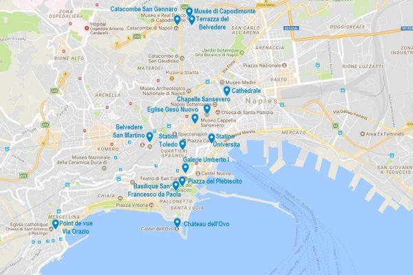 Carte de Naples avec quelques points d'intérêt