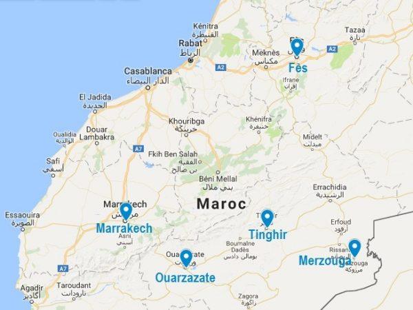 Situation de Merzouga sur la carte du Maroc
