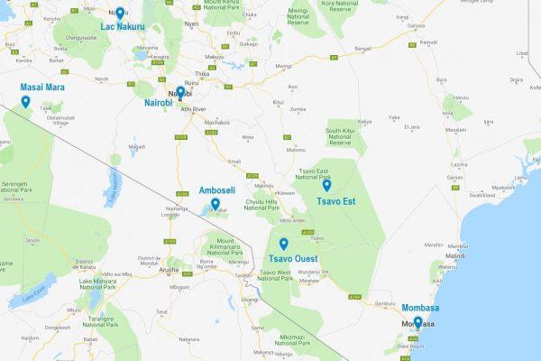 Carte des principaux points d'intérêt au Kenya