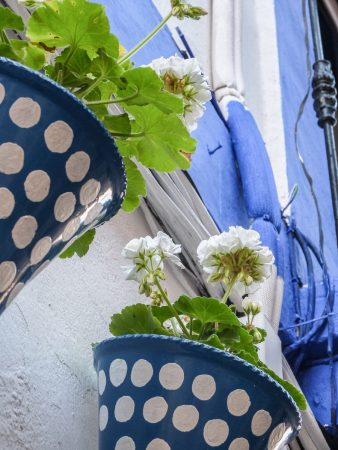 Pots de fleur dans une ruelle à Cordoue