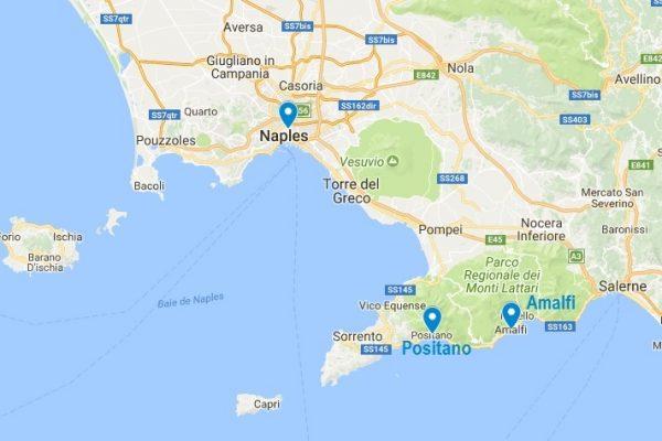 Situation géographique de Positano