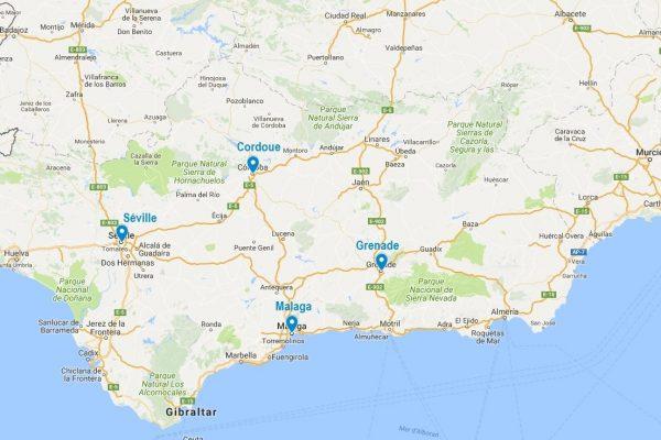 Carte des villes principales d'Andalousie