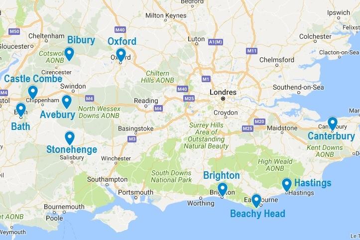 Carte Touristique Kent Angleterre.Infos Sur Carte Angleterre Sud Vacances Arts Guides Voyages