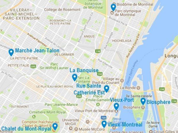 Carte des points d'intérêt dans Montreal