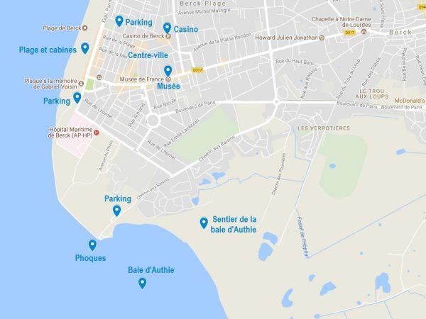 Carte des points d'intérêt à Berck sur mer