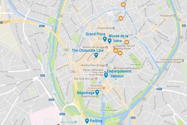 Carte de Bruges avec points d'intérêt