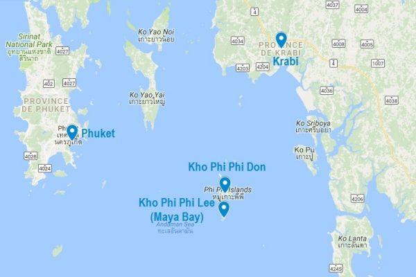 Carte de Koh Phi Phi dans la mer Andaman