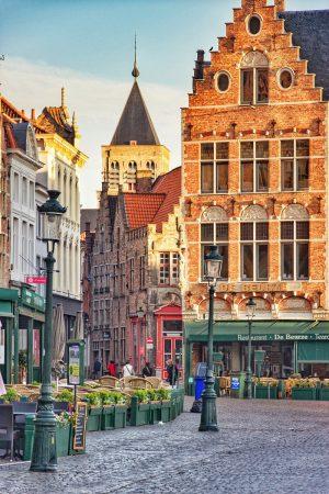 Les couleurs du lever de soleil sur Bruges