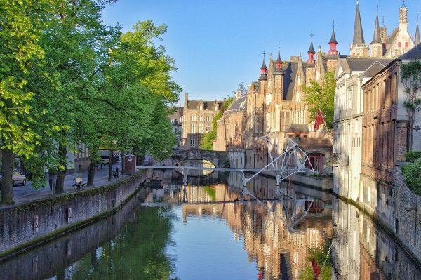 Vue depuis le pont Meestraat de Bruges