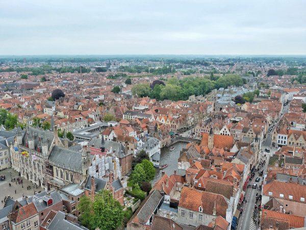 Vue depuis le haut du beffroi de Bruges