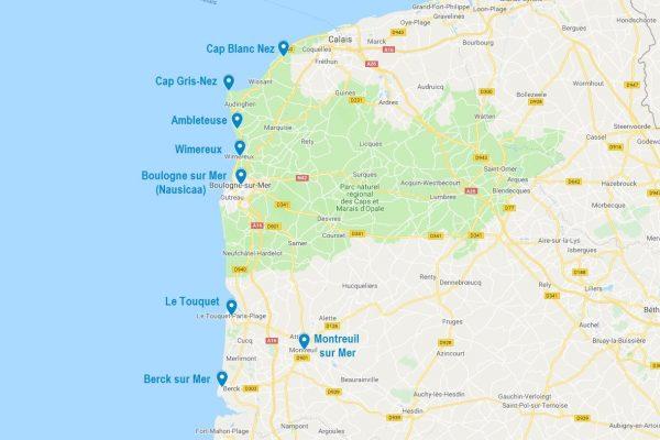 Carte de points d'intérêt pour visiter la Côte d'Opale