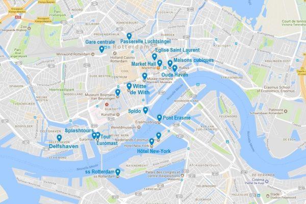 Carte des points d'intérêt pour visiter Rotterdam