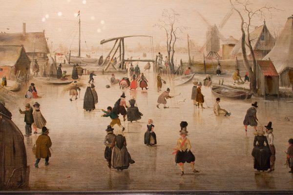 """Le tableau """"Sur la glace"""" d'Avercamp, exposé au Mauritshuis de La Haye"""