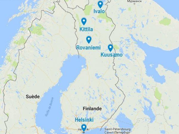 Carte des aéroports de Laponie