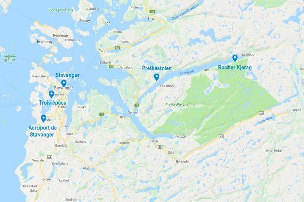 Carte des points d'intérêt dans la région de Stavanger