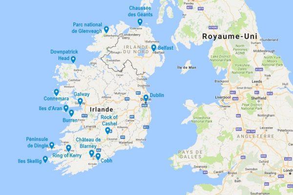 Carte des points d'intérêt principaux lors d'un road trip en Irlande