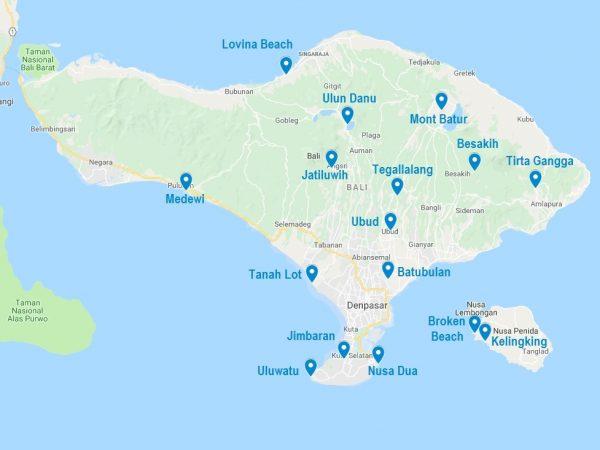 Que faire à Bali ? La carte des points d'intérêt