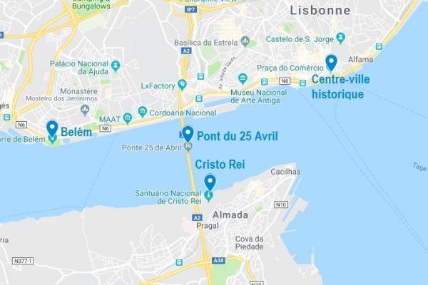 Points d'intérêt d'une croisière à Lisbonne