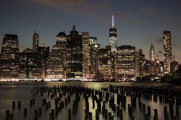 La skyline sur Manhattan de nuit