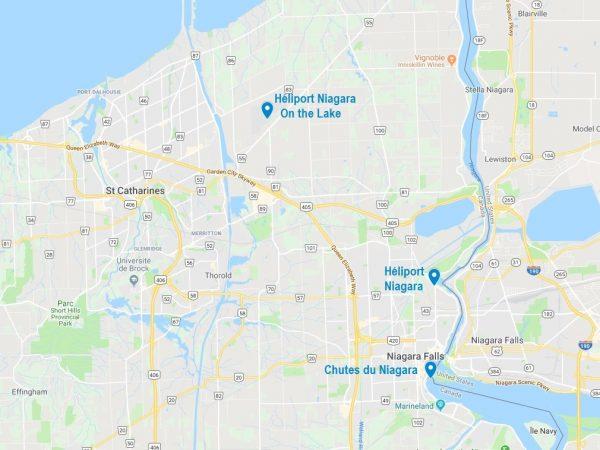 Carte des héliports près de Niagara