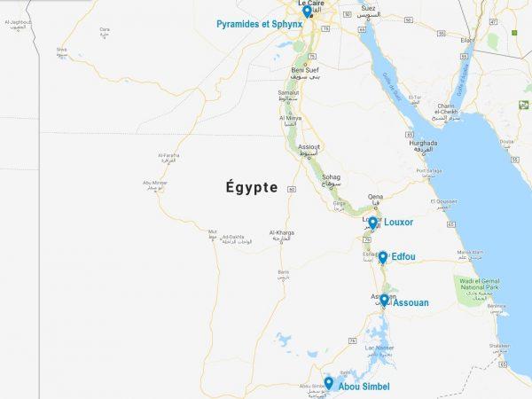 Carte de l'Egypte et des points principaux pour préparer une croisière sur le Nil