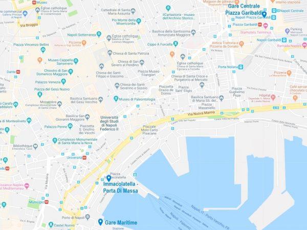 Carte des arrêts de la navette Alibus qui relie l'aéroport et le centre-ville de Naples