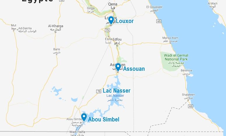 Situation des temples d'Abou Simbel en Egypte