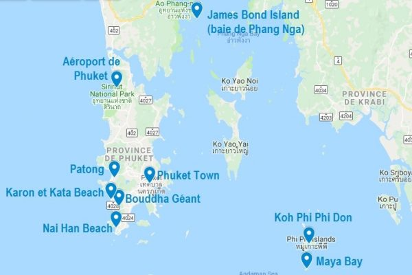 Carte de points d'intérêt à Phuket