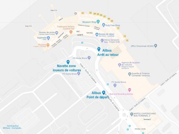 Carte des points à connaître pour les navettes à l'aéroport de Naples
