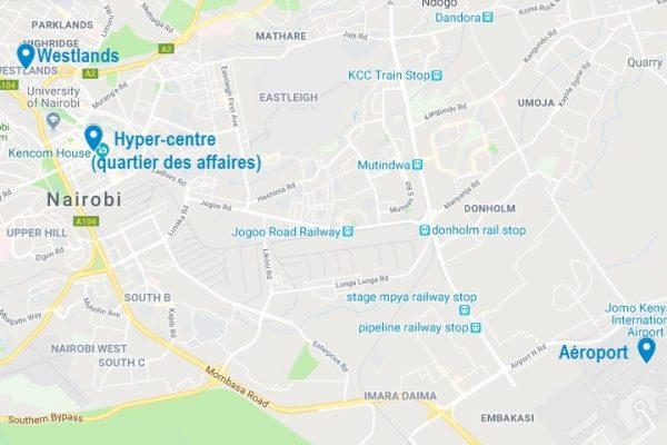 Carte des quartiers où dormir à Nairobi