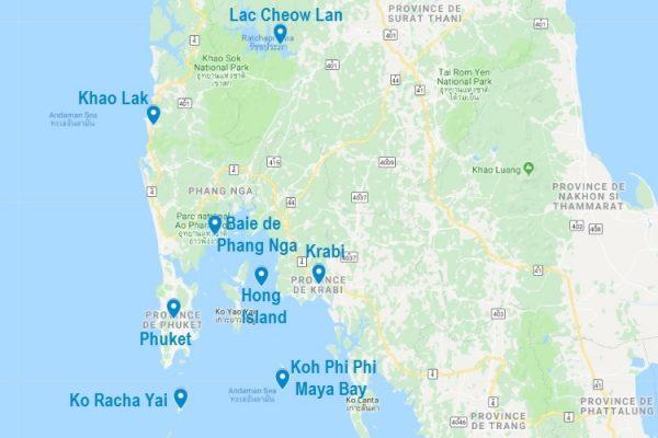 Carte des excursions en bateau depuis Phuket, Krabi et Khao Lak