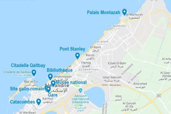 Carte de points d'intérêt à Alexandrie