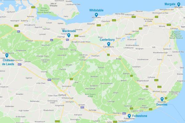 Carte des points d'intérêt dans le Kent