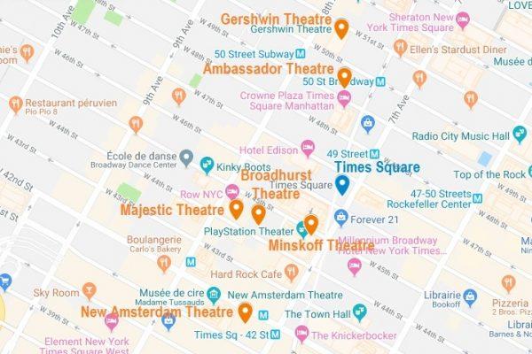 Carte des théâtres de Broadway