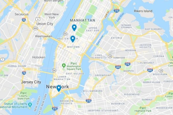 Carte de l'emplacement des boutiques TKTS à New-York