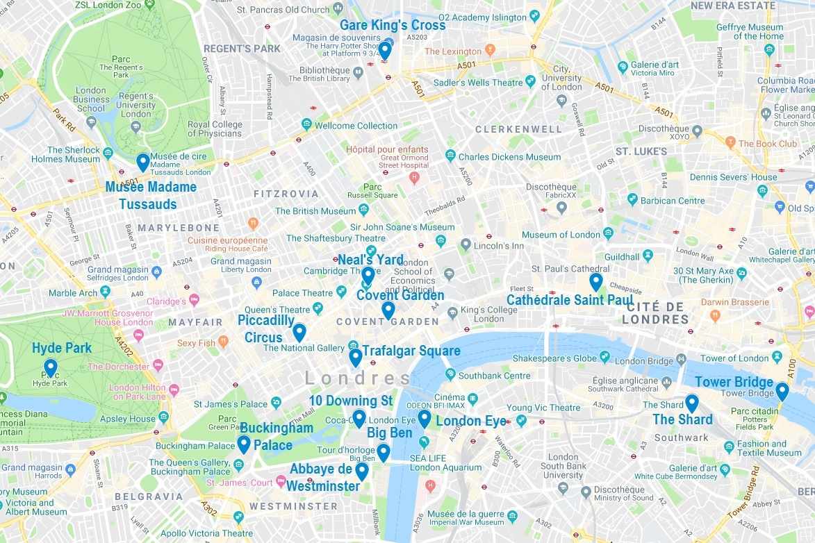 Carte De Points Dinteret A Londres