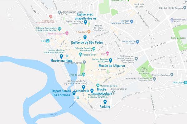 Carte des points d'intérêt à Faro