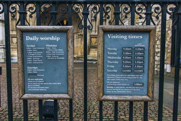 Horaires d'ouverture de l'abbaye de Westminster