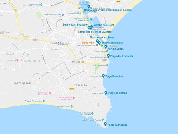 Carte des points d'intérêt pour visiter Lagos et ses alentours