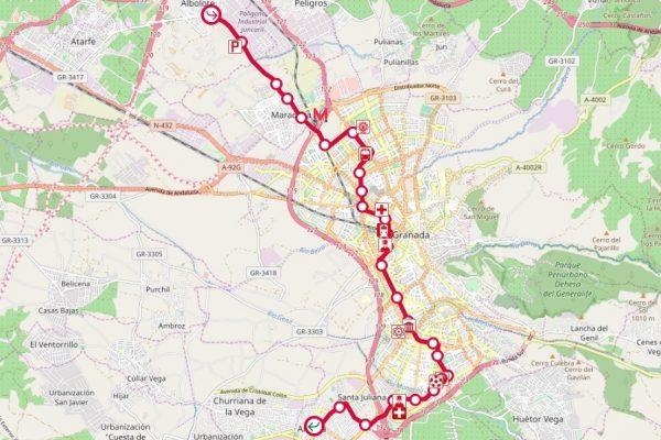 Carte avec le plan du métro-tramway de Grenade