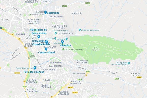 Carte des points d'intérêt à Grenade compris dans le pass